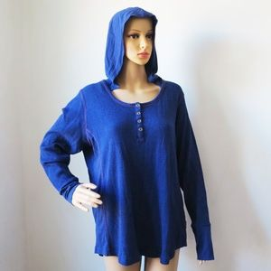 Columbia Hooded Long Sleeve Shirt Blouse Button 1X